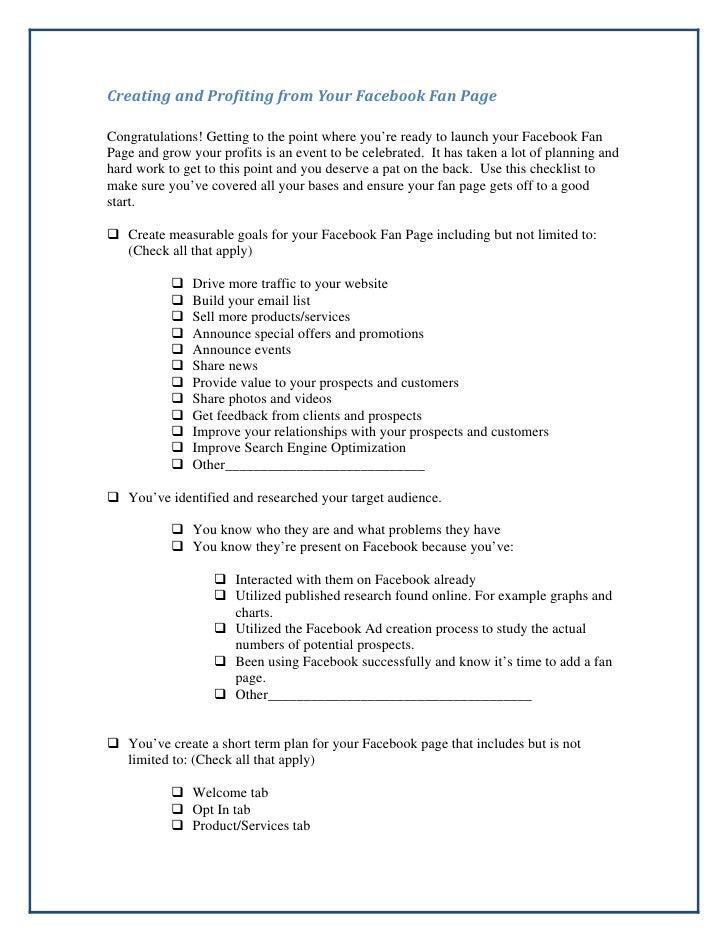 Fanpage Checklist