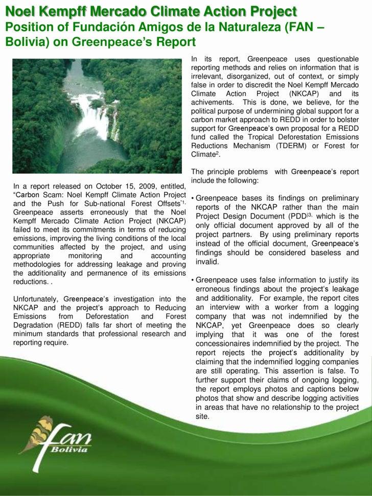 Noel Kempff Mercado ClimateAction Project<br />Position of Fundación Amigos de la Naturaleza (FAN –Bolivia) onGreenpeace's...