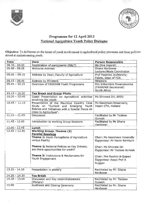 FANRPAN National Policy Dialogue Programme - Mauritius
