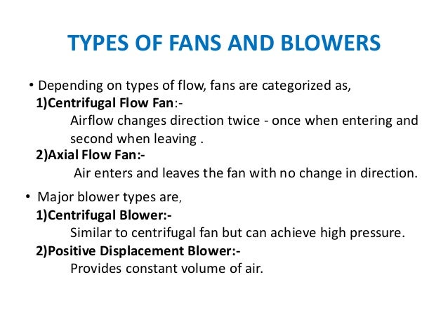 Types Of Fans And Blowers : Fans and blower