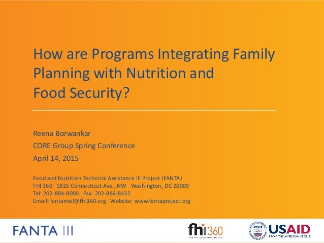 Food and Nutrition Technical Assistance III Project (FANTA) FHI 360 1825 Connecticut Ave., NW Washington, DC 20009 Tel: 20...
