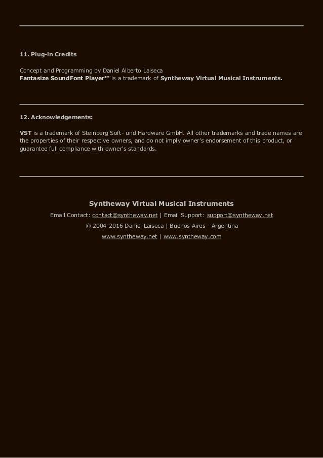 Syntheway Fantasize SoundFont SF2 Sample Player VSTi