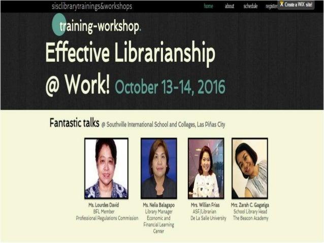 2-day Training-Workshop on Effective Librarianship at Work on October 13-14, 2016