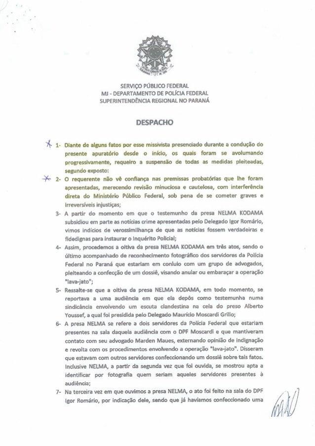 sERvIco PÙBUCO FEDERAL Ml - DEPARTAMENTO o:  POLlCIA FEDERAL SUPERINTENDÉNCIA REGIONAL NO PARANÀ  DESPACHO  Dìante de algu...