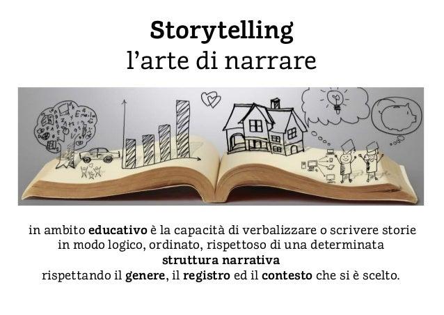 Storytelling l'arte di narrare in ambito educativo è la capacità di verbalizzare o scrivere storie in modo logico, ordinat...