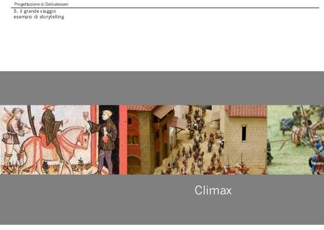 Progettazione di Delicatessen 5. il grande viaggio esempio di storytelling Climax