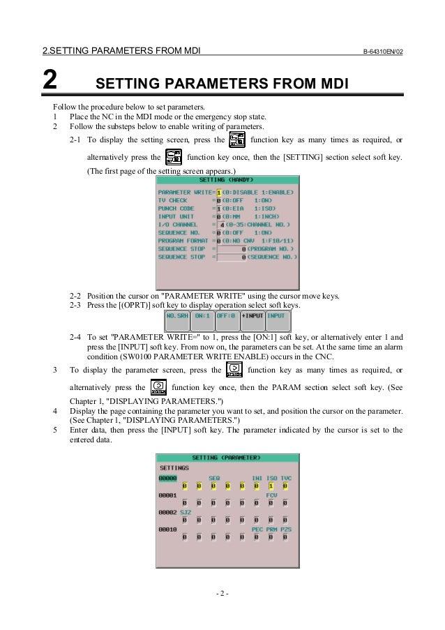 Fanuc 0i parameter manual CNC milling machine
