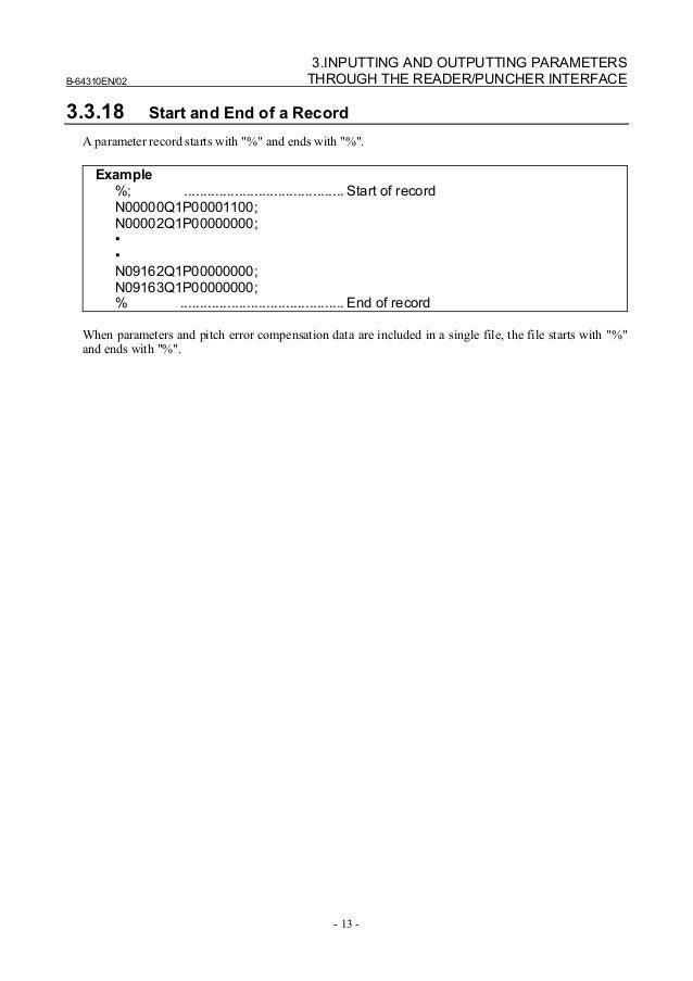 Fanuc 18 parameter Manual