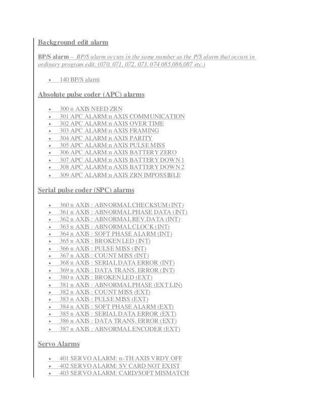 Fanuc 21i alarm codes