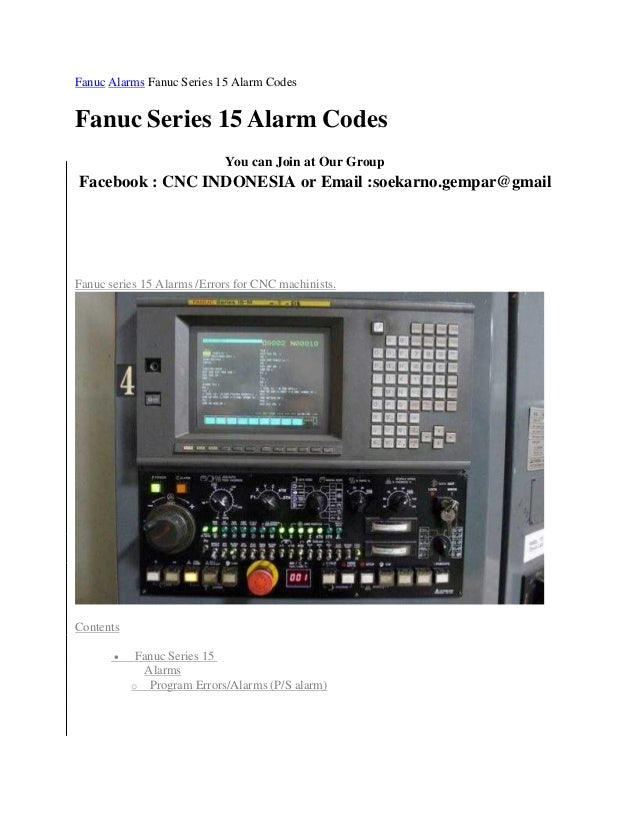 Fanuc alarms fanuc series 15 alarm codes