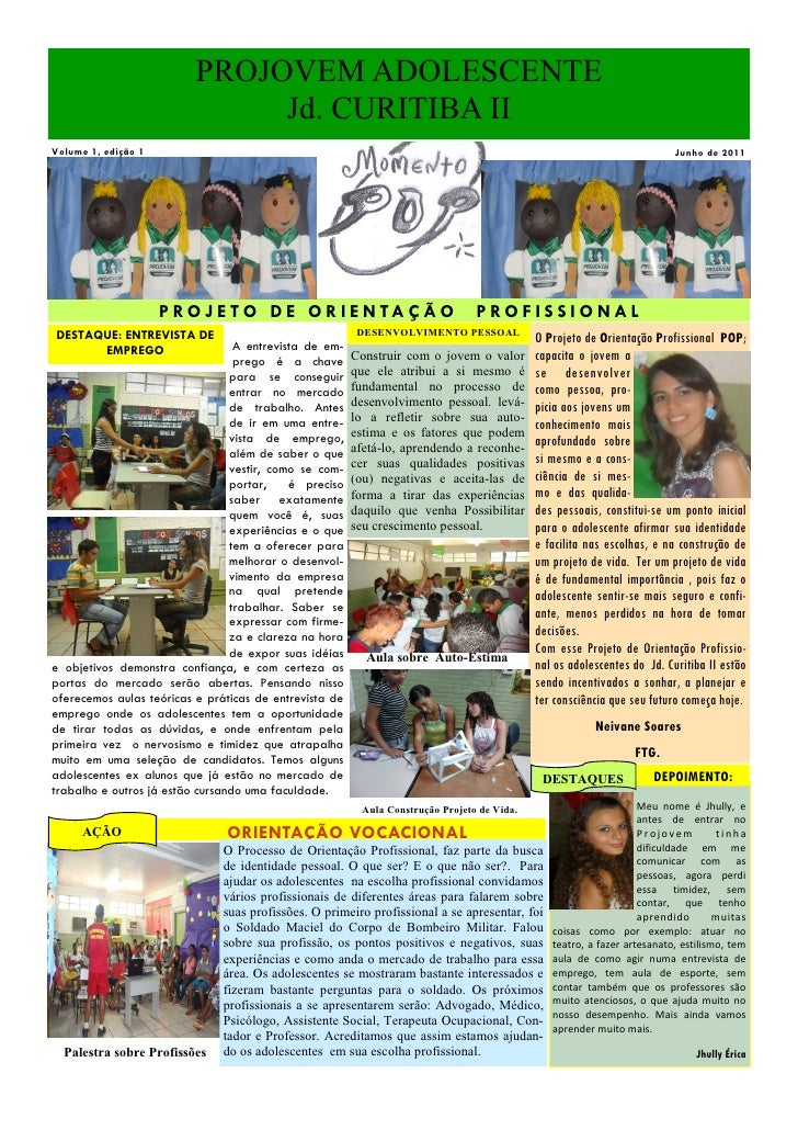 PROJOVEM ADOLESCENTE                               Jd. CURITIBA IIVolume 1, edição 1                                      ...