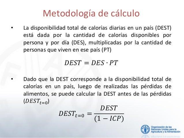 Metodolog a para el c lculo de la prevalencia de la subalimentaci n e - Calcular calorias de los alimentos ...