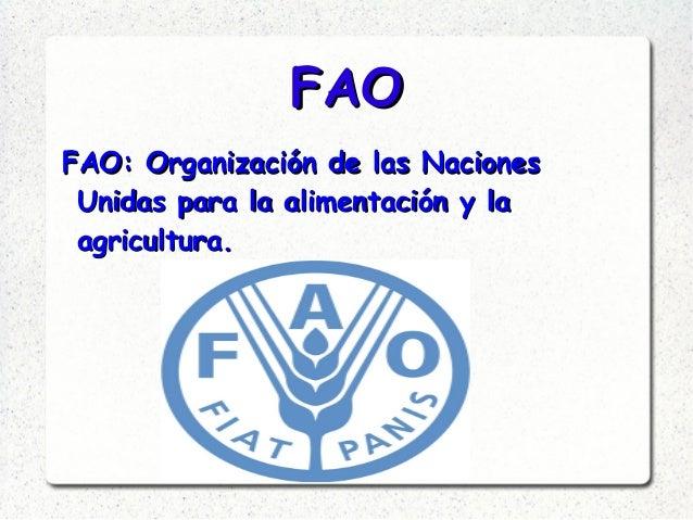 FAOFAO FAO: Organización de las NacionesFAO: Organización de las Naciones Unidas para la alimentación y laUnidas para la a...