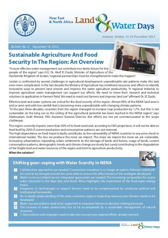 """Bulletin No. 2  December 16, 2013  Sustainable Agriculture And Food Security In The Region: An Overview """"A more effective ..."""