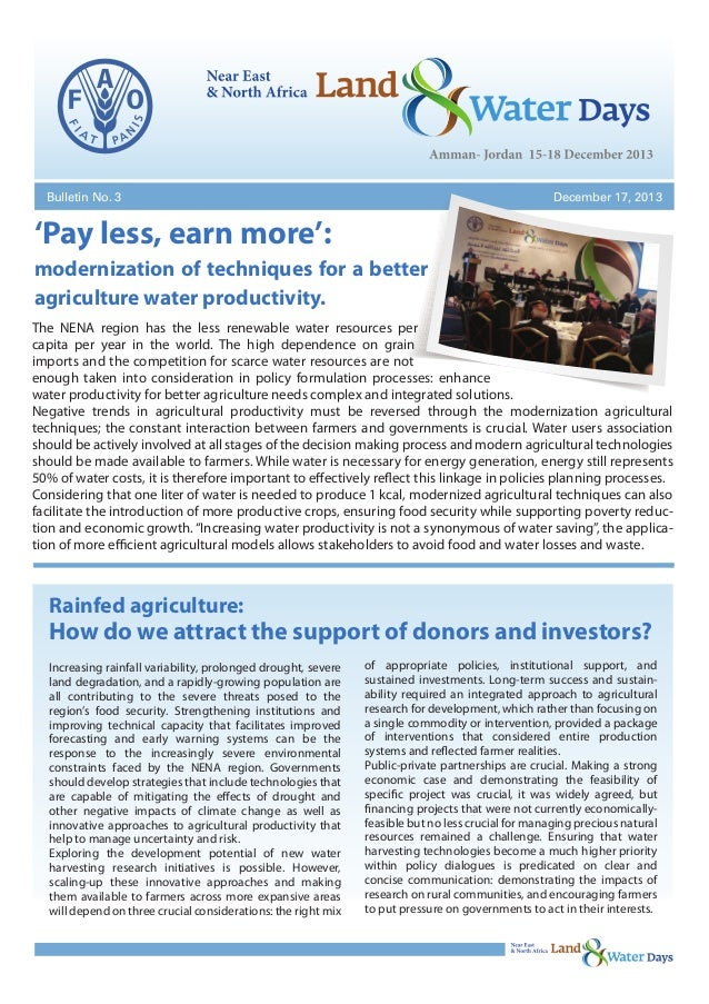 Bulletin No. 3  December 17, 2013  'Pay less, earn more': modernization of techniques for a better agriculture water produ...