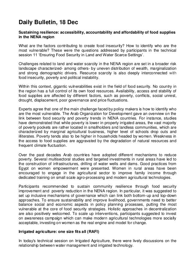 Daily Bulletin, 18 Dec Sustaining resilience: accessibility, accountability and affordability of food supplies in the NENA...