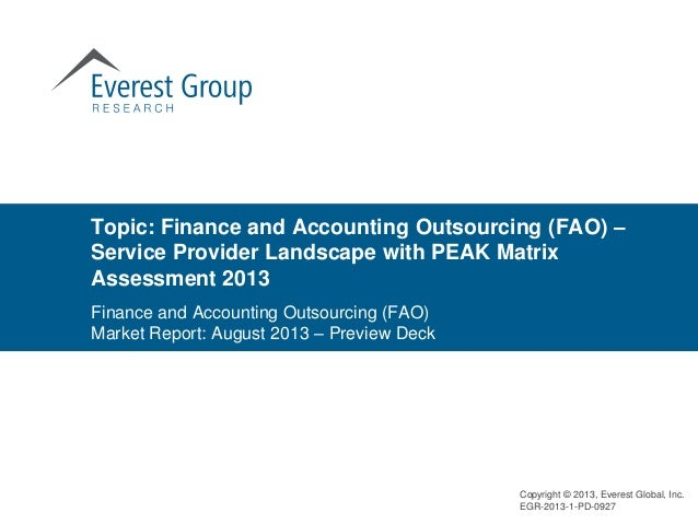 Topic: Finance and Accounting Outsourcing (FAO) – Service Provider Landscape with PEAK Matrix Assessment 2013 Copyright © ...