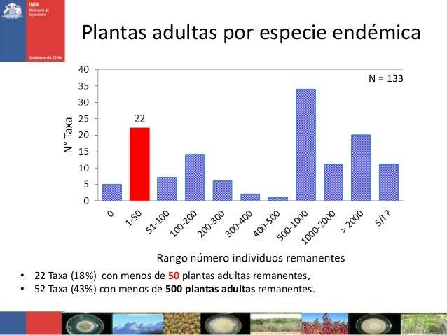 Plantas adultas por especie endémicaN = 133• 22 Taxa (18%) con menos de 50 plantas adultas remanentes,• 52 Taxa (43%) con ...
