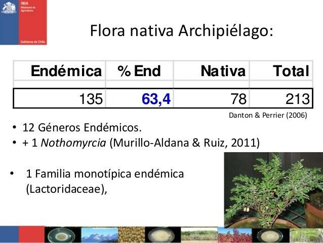 Flora nativa Archipiélago:Endémica % End Nativa Total135 63,4 78 213Danton & Perrier (2006)• 12 Géneros Endémicos.• + 1 No...