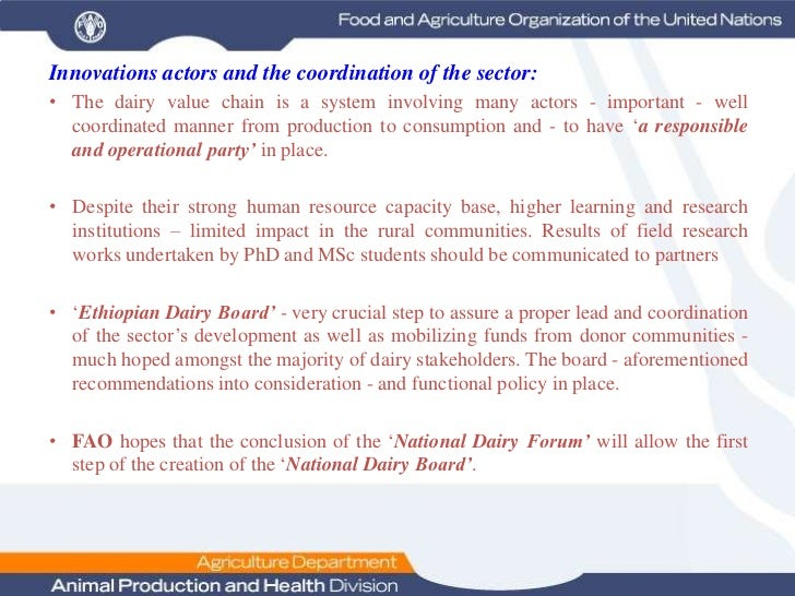 Dairy Value Chain Development In Ethiopia: The Experience of FAO