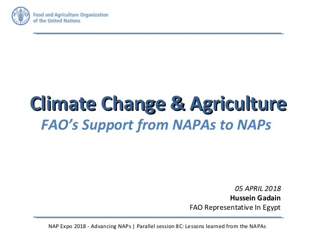 Climate Change & AgricultureClimate Change & Agriculture FAO's Support from NAPAs to NAPs 05 APRIL 2018 Hussein Gadain FAO...