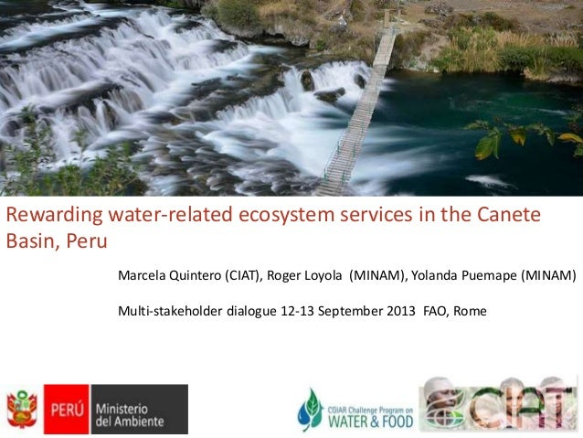 Rewarding water-related ecosystem services in the Canete Basin, Peru Marcela Quintero (CIAT), Roger Loyola (MINAM), Yoland...