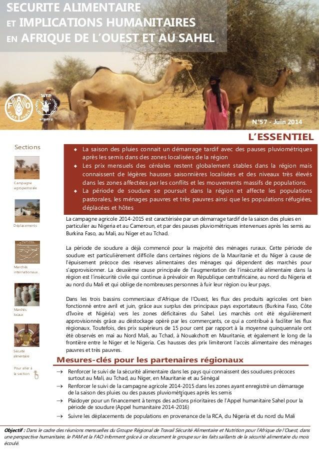 Objectif : Dans le cadre des réunions mensuelles du Groupe Régional de Travail Sécurité Alimentaire et Nutrition pour l'Af...