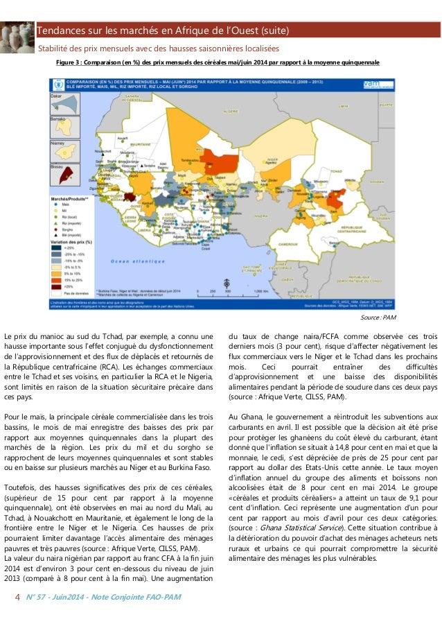 N° 57 - Juin2014 - Note Conjointe FAO-PAM4 Tendances sur les marchés en Afrique de l'Ouest (suite) Stabilité des prix mens...