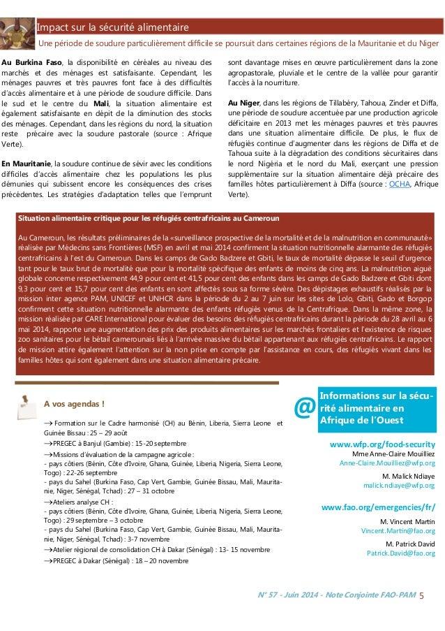 N° 57 - Juin 2014 - Note Conjointe FAO-PAM 5 Impact sur la sécurité alimentaire Une période de soudure particulièrement di...