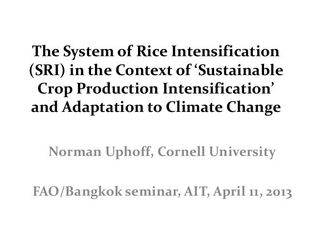 The System of Rice Intensification(SRI) in the Context of 'Sustainable  Crop Production Intensification'and Adaptation to ...