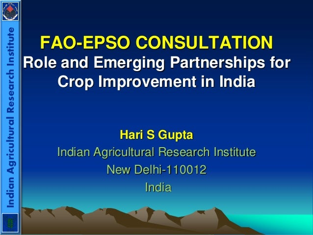 FAO-EPSO CONSULTATION Role and Emerging Partnerships for Crop Improvement in India Hari S Gupta Indian Agricultural Resear...