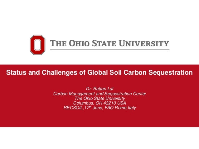1 Carbon Management and Sequestration Center Status and Challenges of Global Soil Carbon Sequestration Dr. Rattan Lal Carb...