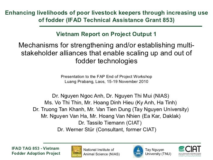 Mechanisms for strengthening and/or establishing multi-stakeholder alliances that enable scaling up and out of fodder tech...