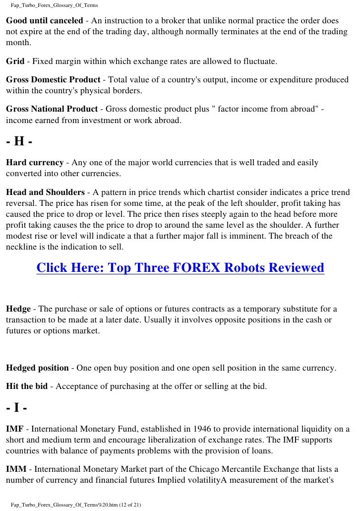 Forex terms glossary