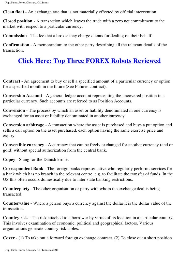 Forex trading glossary
