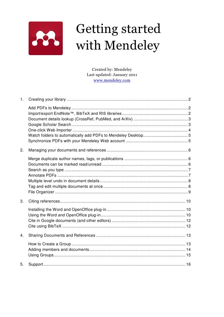 Getting started                                           with Mendeley                                                   ...