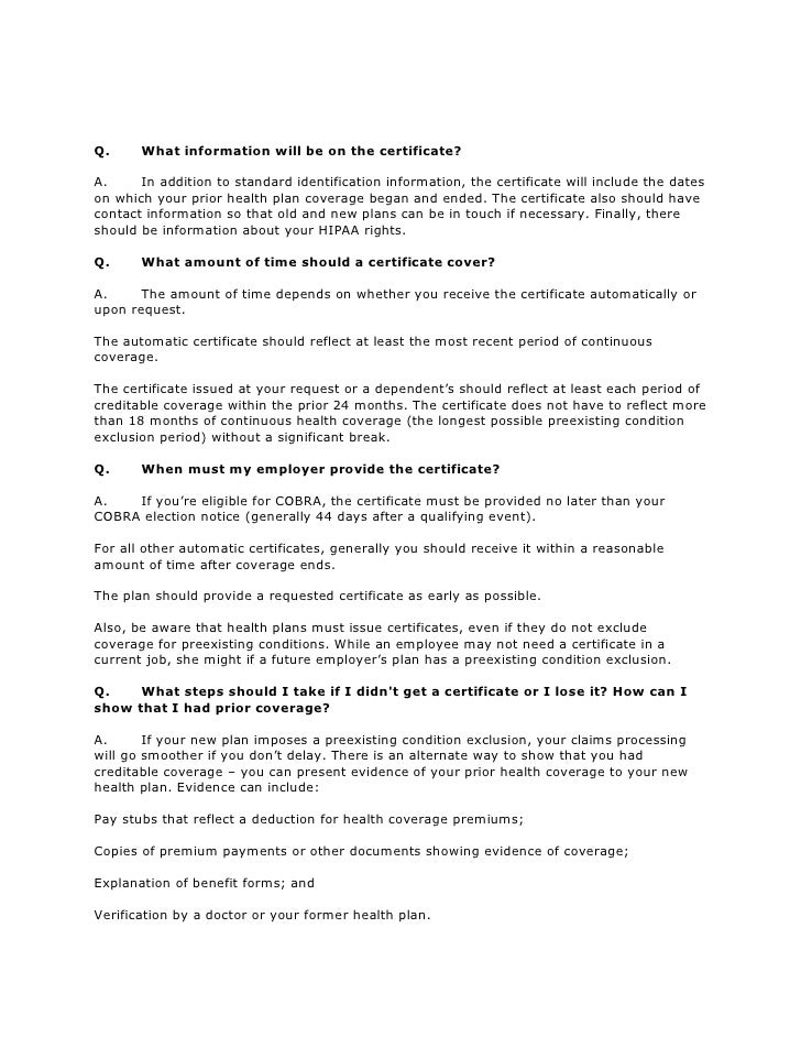 Faqs About Portability Of Health Coverage And Hipaa Part 2 Of 3
