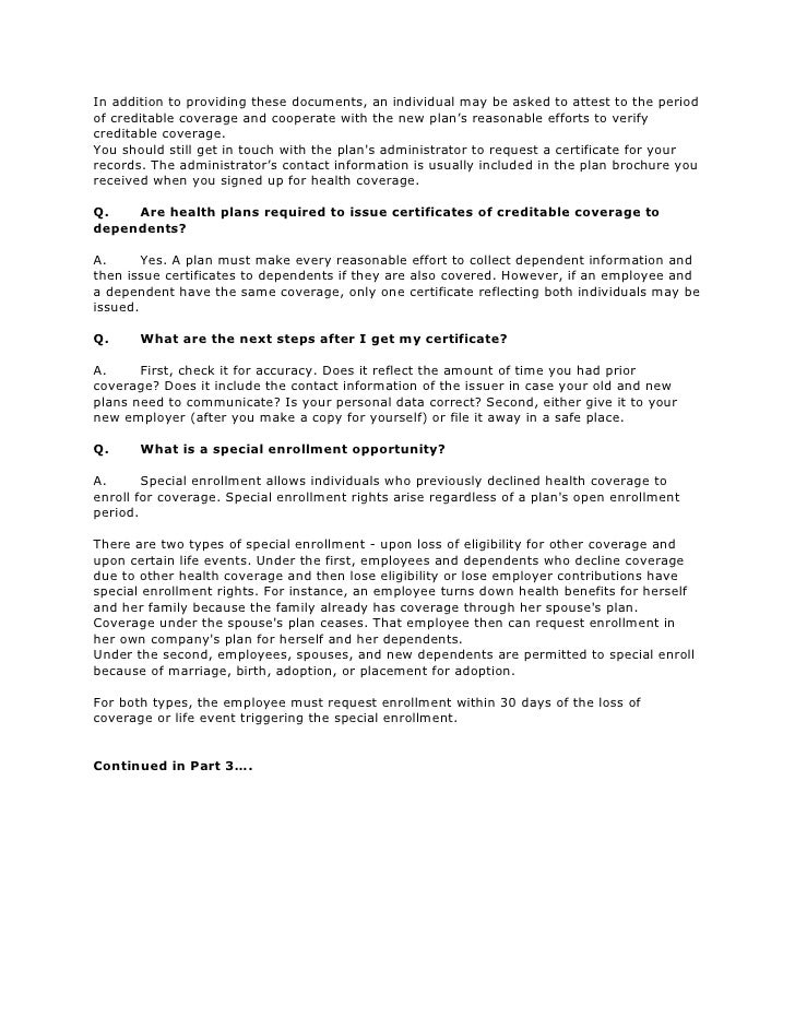FAQs about Portability of Health Coverage and HIPAA - Part ...