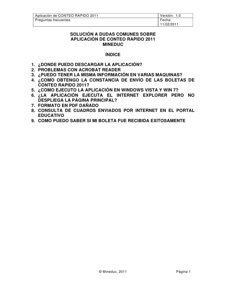 Aplicación de CONTEO RAPIDO 2011                     Versión: 1.0     Preguntas frecuentes                                ...