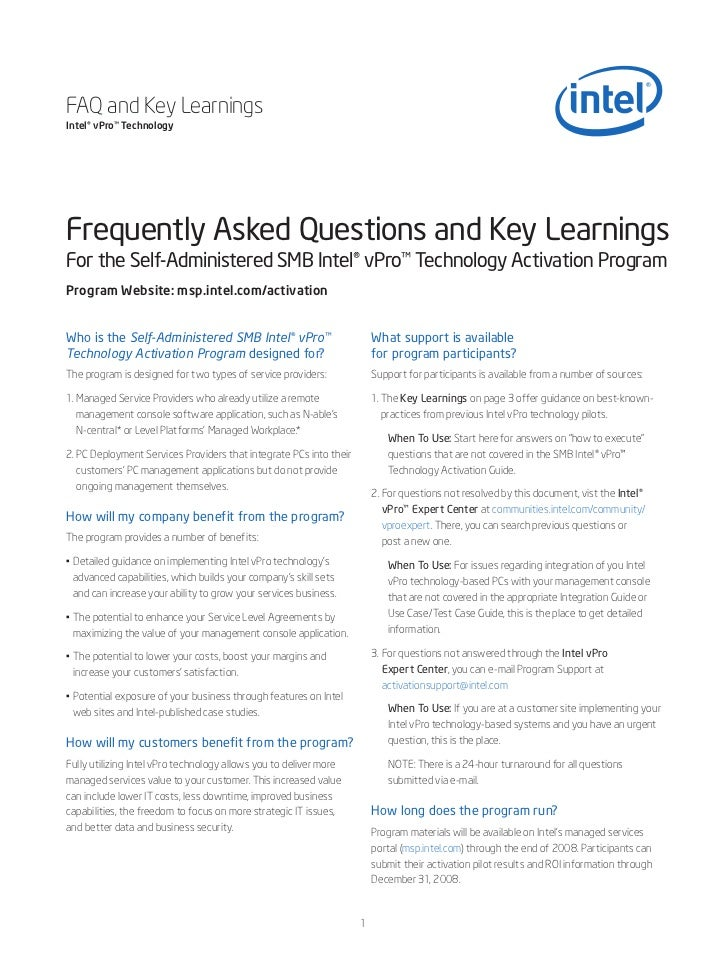 FAQ and Key LearningsIntel® vPro™ TechnologyFrequently Asked Questions and Key LearningsFor the Self-Administered SMB Inte...