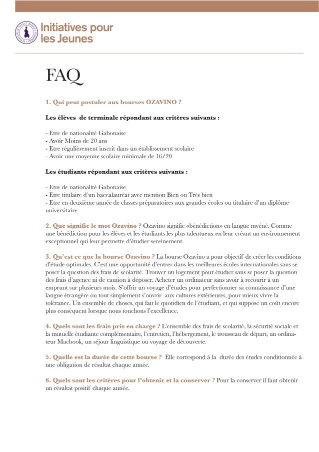 FAQ - Bourses Ozavino 2014