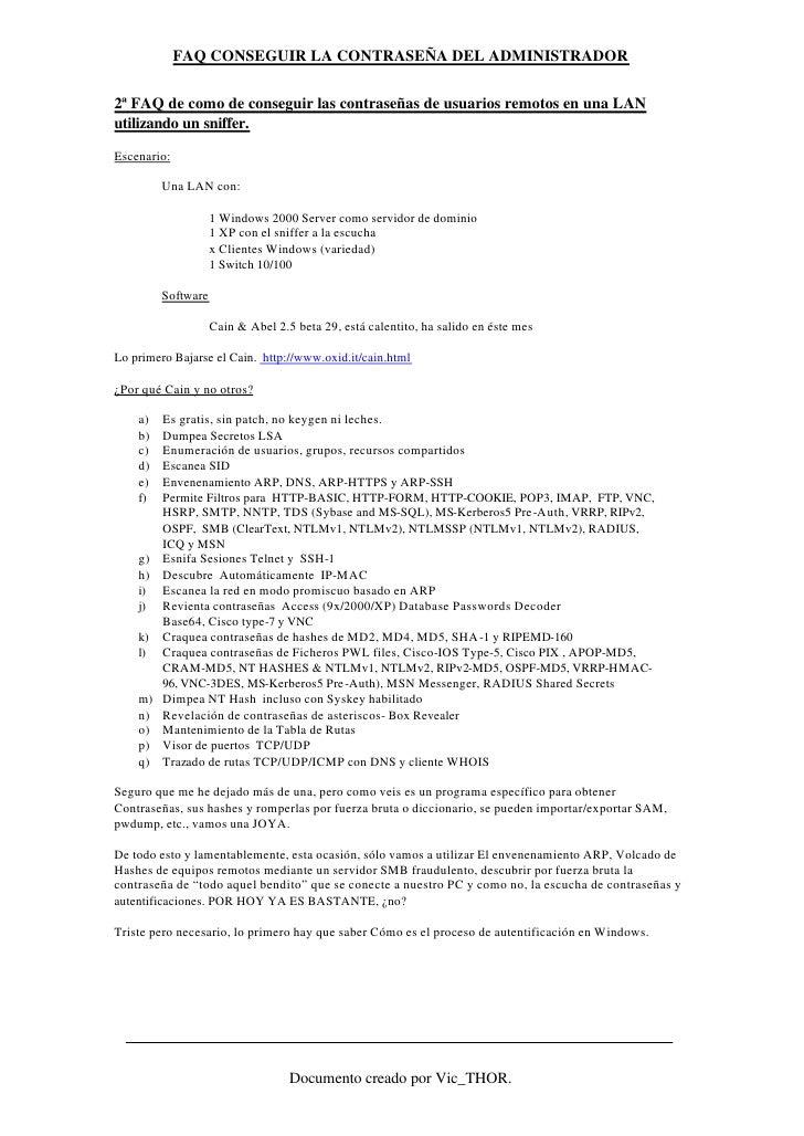 FAQ CONSEGUIR LA CONTRASEÑA DEL ADMINISTRADOR  2ª FAQ de como de conseguir las contraseñas de usuarios remotos en una LAN ...