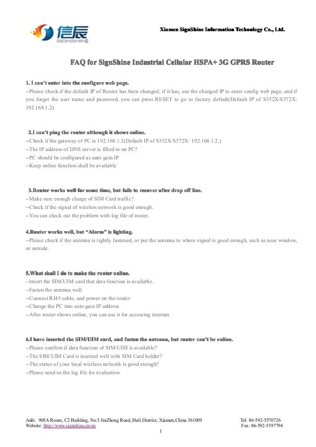 Faq for signshine industrial 3g gprs router vpn lan