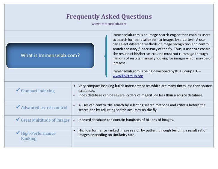 Frequently Asked Questions                                          www.immenselab.com                                    ...