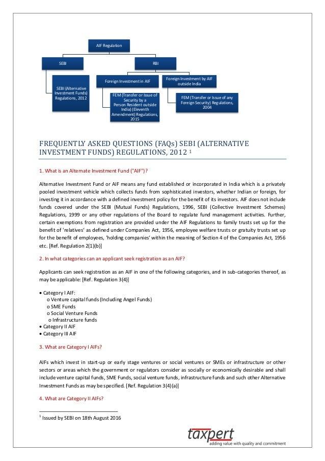 SEBI Alternative Investment Funds Regulations 2012-FAQ