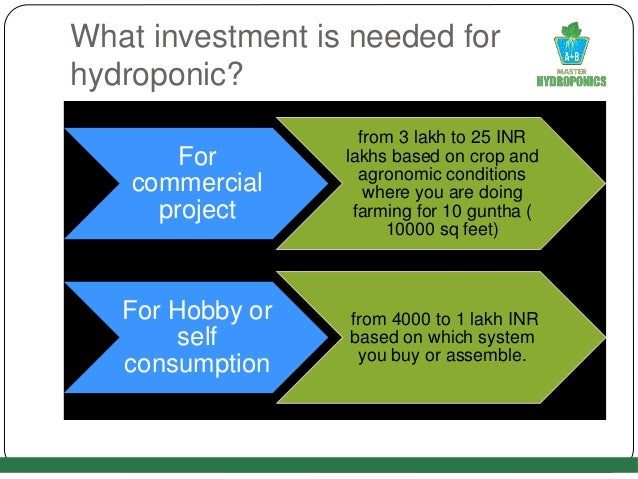 What investment is needed for hydroponic? For commercial project from 3 lakh to 25 INR lakhs based on crop and agronomic c...
