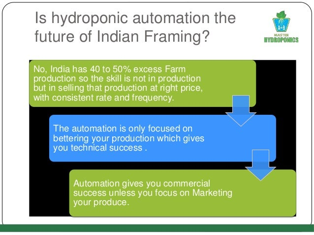 Is hydroponic automation the future of Indian Framing? No, India has 40 to 50% excess Farm production so the skill is not ...