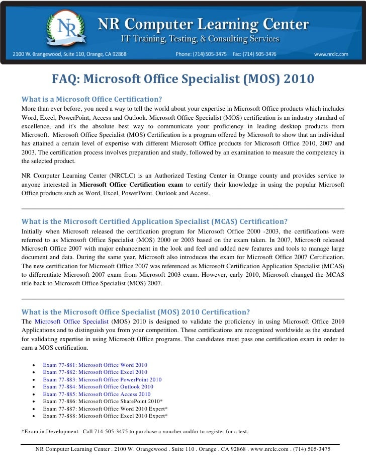 What is Microsoft Office Specialist(MOS)?