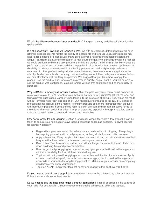 Frequently Asked Questions about Nail Lacquer (ours is 5-Free!)