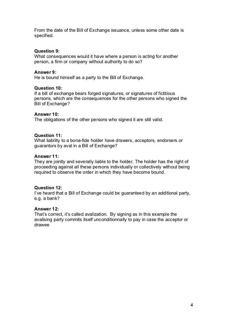 Faq bill of exchange 4 altavistaventures Choice Image